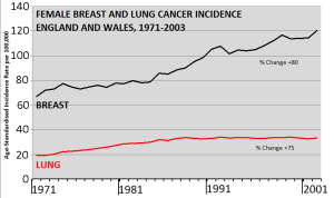 Charting the relative change in age-adjusted breast and lung cancer incidence in women in the UK. Click image to enlarge. Source: ONS