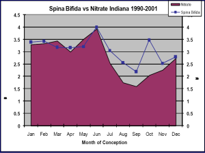 Chart showing nitrate levels against incidence of spina bifida. Click to enlarge.
