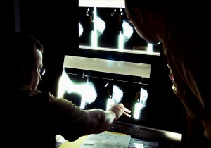 Naval medical officers examining mammogram images